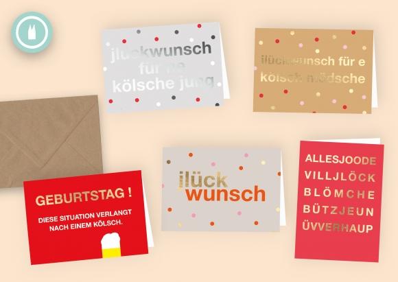 kölsche jlückwünsche * Set 5 Doppelkarten mit Umschlägen