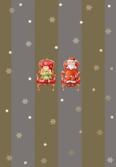 Doppelkarte: Weihnachtsmann und Christkind auf Thronen