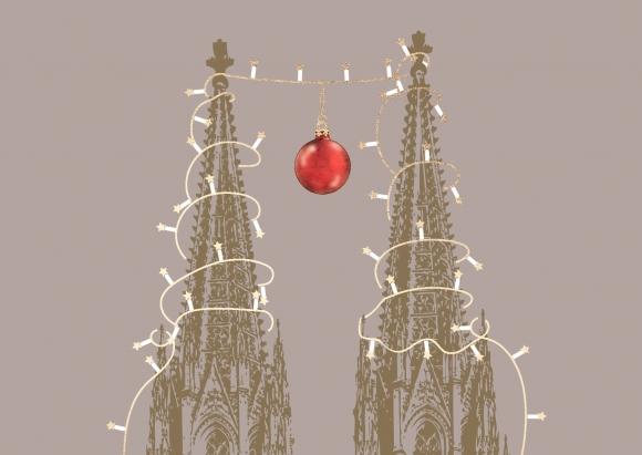 Postkarte: Domspitzen mit Weihnachtskugel