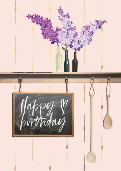 Doppelkarte: Happy Birthday - 3 Flaschen.