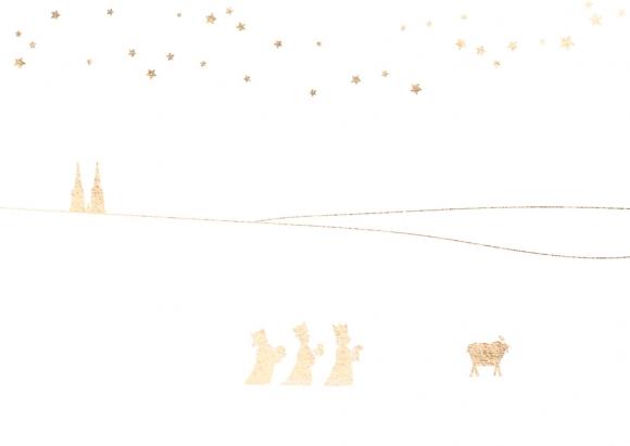 Postkarte: Heilige Drei Könige mit Dom und Krippe