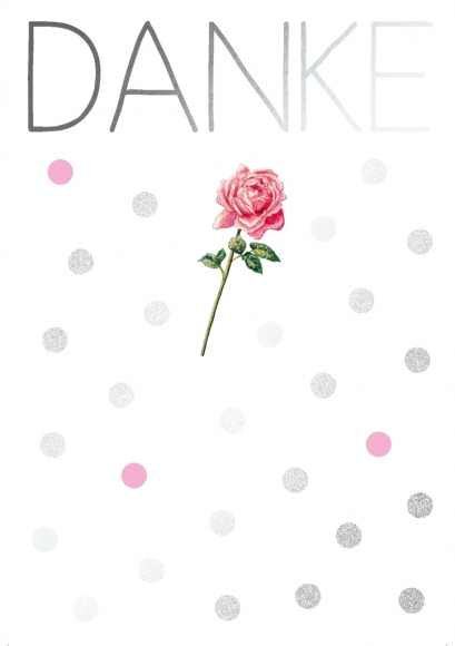 Postkarte: Danke - Rose
