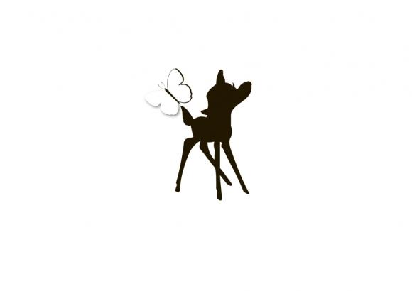 Postkarte: Bambi mit Schmetterling