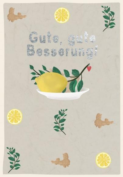 Doppelkarte: Gute, gute Besserung - Zitronen