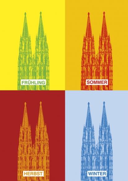 Postkarte: Dom - 4 Jahreszeiten