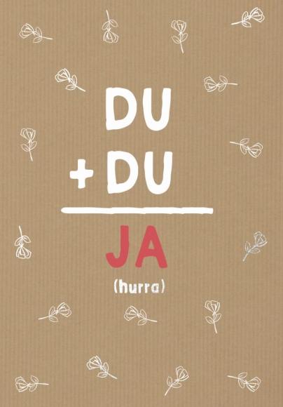 Doppelkarte: Du + Du= Ja (hurra)