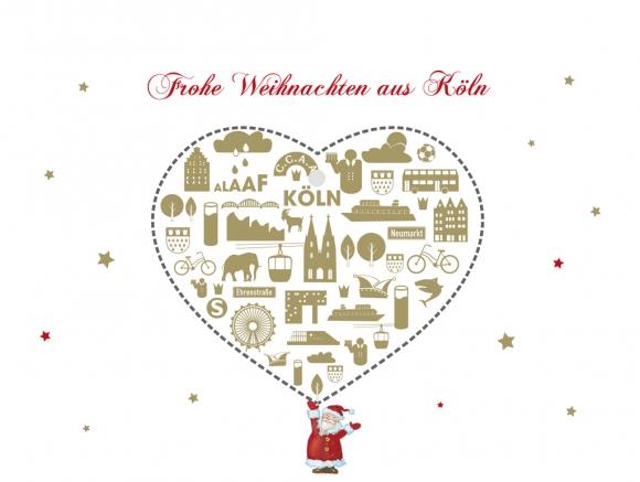 Frohe Weihnachten Herz.Doppelkarte Frohe Weihnachten Aus Köln Herz