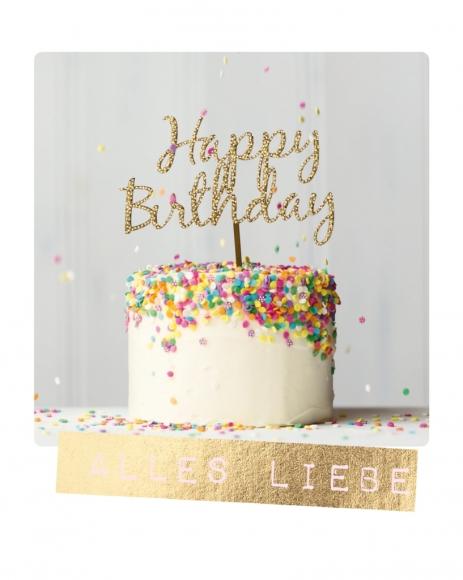 Doppelkarte: Alles Liebe - Happy Birthday