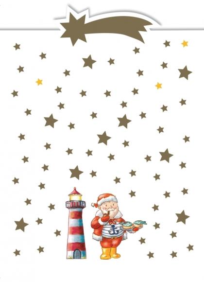 Postkarte: Weihnachtsmann u. Leuchtturm - Norddeutschland
