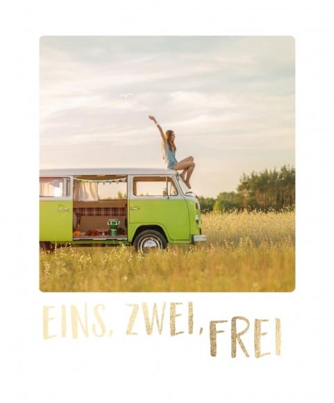 Postkarte: Eins, Zwei, Frei