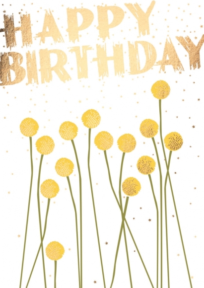 Postkarte: Happy Birthday - Blumen