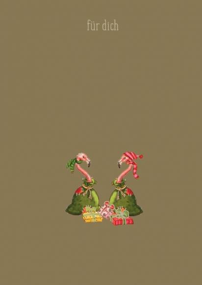 Doppelkarte: Für Dich - Zwei Flamingos