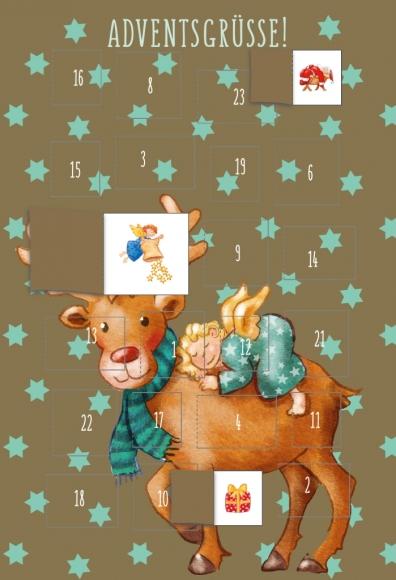 Adventskalender-Doppelkarte: Adventsgrüße - Rentier