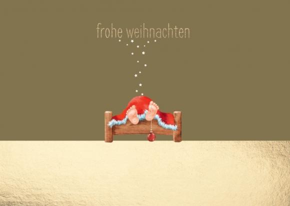 Postkarte: Weihnachtsmann, Füße mit Kugel