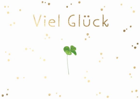 Postkarte: Viel Glück Kleeblatt