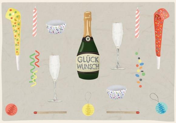 Doppelkarte: Glückwunsch - Champagner