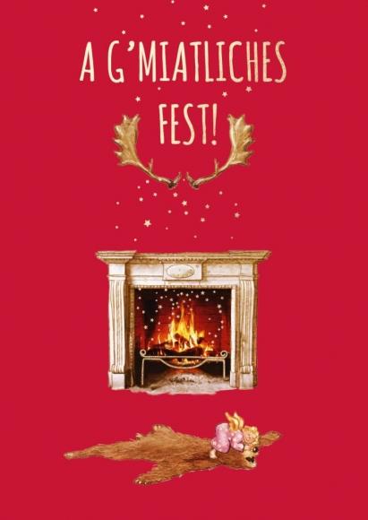 Postkarte: A g'miatliches Fest! -Bärenfell mit Engel