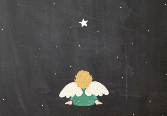 Doppelkarte: Engel vor Stern