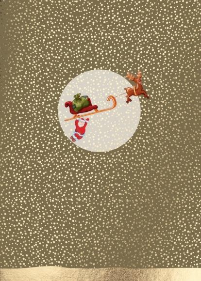 Postkarte: Weihnachtsmann am Schlitten hängend