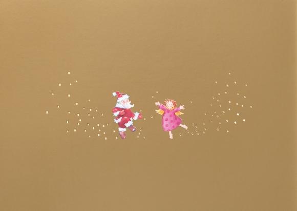 Postkarte: Tanzender Engel und Weihnachtsmann