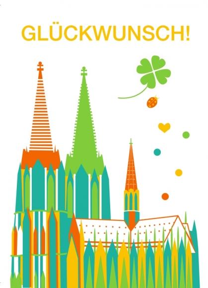 Postkarte: Glückwunsch! Köln
