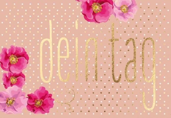 Mini-Doppelkarte: rosa Blüten - Dein Tag