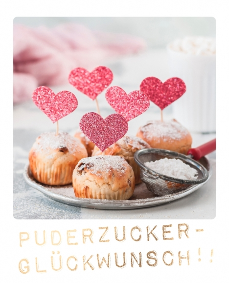 Doppelkarte: Puderzucker-Glückwunsch!!