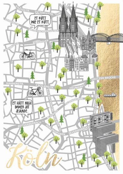 Doppelkarte: Straßenkarte Köln