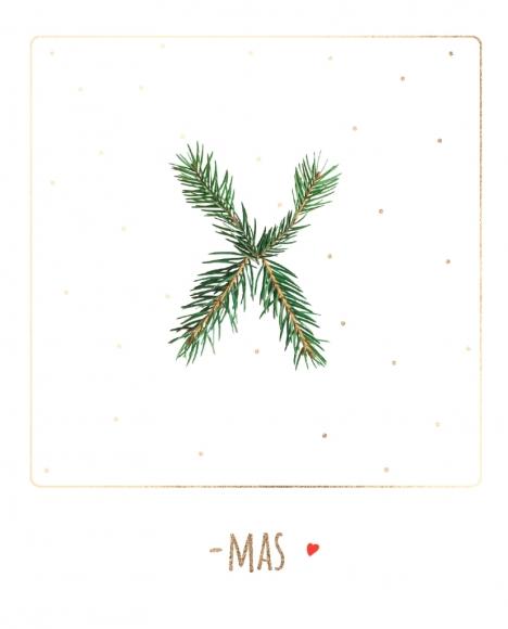Postkarte: Tannengrün X-Mas