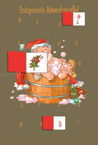 Adventskalender-Doppelkarte: Entspannte Adventsgrüße