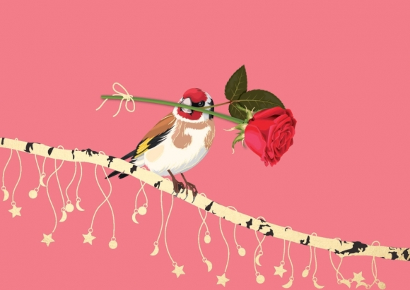 Postkarte: Stieglitz mit Rose