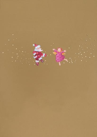 Doppelkarte: Tanzender Engel und Weihnachtsmann