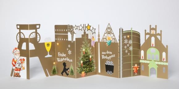 Ziehharmonikakarte Ruhrgebiet - Frohe Weihnachten