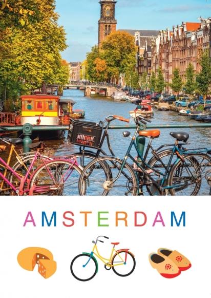 Postkarte: Amsterdam - Gracht, Fahrräder