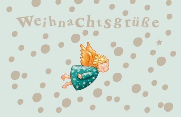 Mini-Doppelkarte: Weihnachtsgrüße - Fliegender Engel
