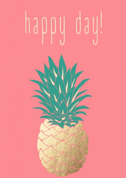 Postkarte: Ananas - Happy Day!