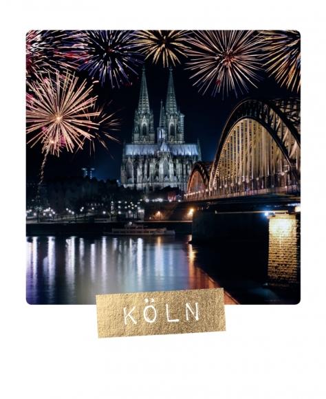 Postkarte: Köln - Feuerwerk Dom