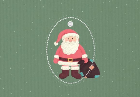 Doppelkarte: Weihnachtsmann-Anhänger