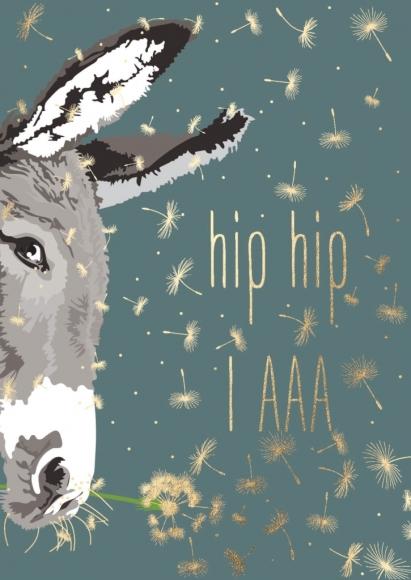 Postkarte: hip hip IAAA - Esel