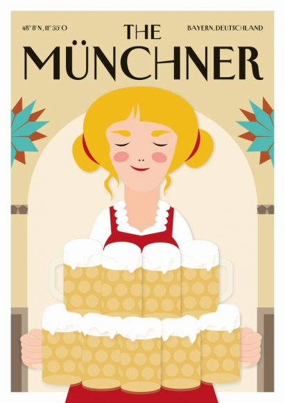 Postkarte: The Münchner - Biermädel