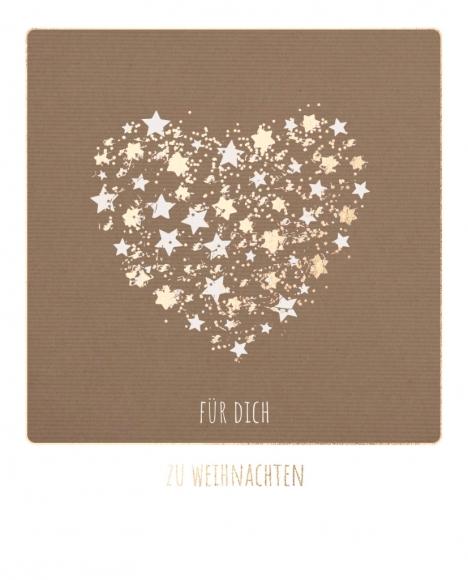 Postkarte: Glitzer-Herz Für dich zu Weihnachten