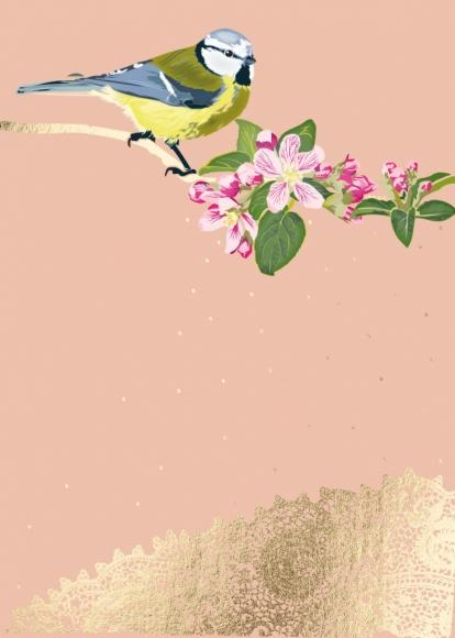 Postkarte: Meise mit Apfelblütenzweig u. Spitze