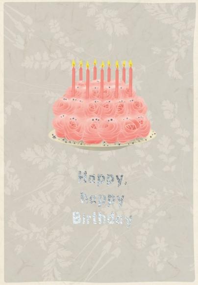 Doppelkarte: Happy happy Birthday - Rosentorte