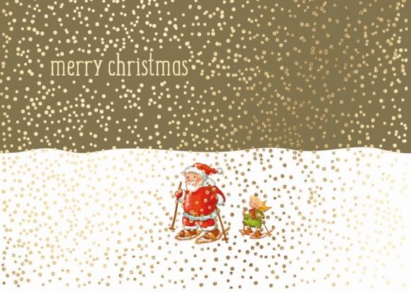 Doppelkarte: Merry Christmas - Weihnachtsmann und Engel auf Schneeschuhen
