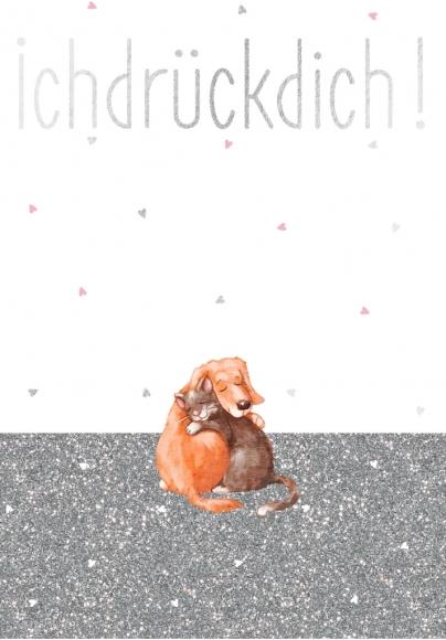 Postkarte: Ich drück Dich! Hund und Katze.