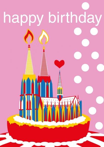 Doppelkarte: Happy Birthday - Köln