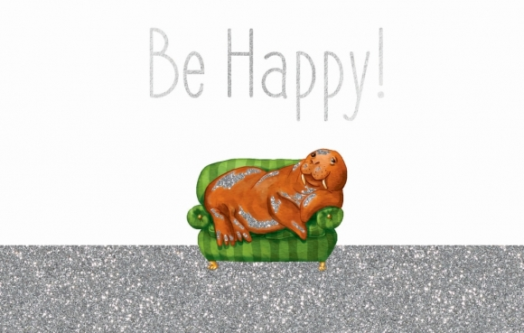 Postkarte: Be Happy -Walroß