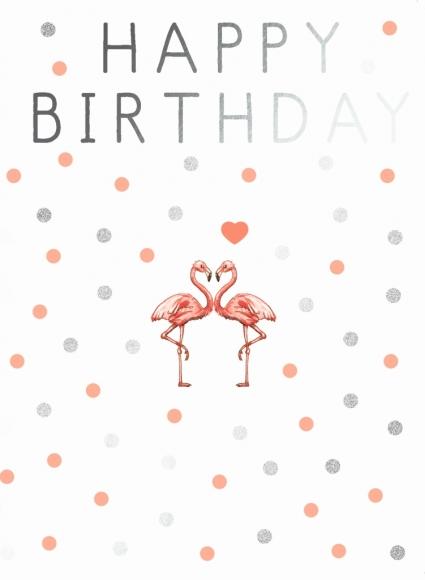 Doppelkarte: Happy Birthday - Flamingos