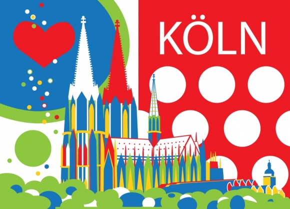 Postkarte: Köln mit Herz