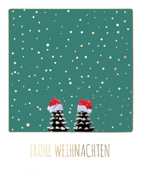 Postkarte: Frohe Weihnachten - 2 Zapfen mit Weihnachtsmütze
